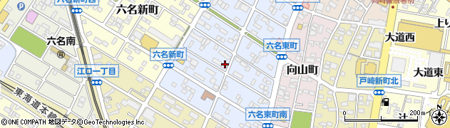 愛知県岡崎市六名東町周辺の地図