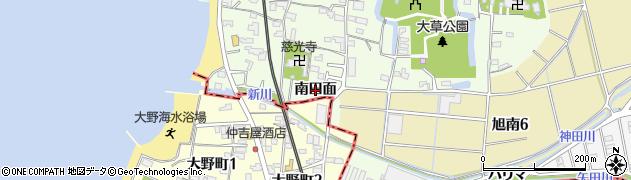 愛知県知多市大草(南田面)周辺の地図