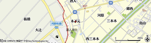 愛知県岡崎市島坂町(木ノ元)周辺の地図