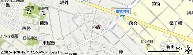 愛知県岡崎市東牧内町(向野)周辺の地図