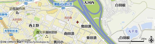 愛知県岡崎市大平町(西田潰)周辺の地図