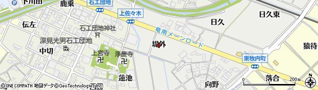 愛知県岡崎市東牧内町(堤外)周辺の地図