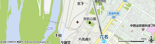 愛知県岡崎市六名町(祢宜畑)周辺の地図