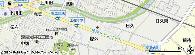 愛知県岡崎市東牧内町堤外周辺の地図