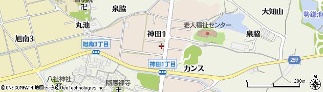 愛知県知多市神田周辺の地図