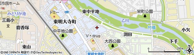 愛知県岡崎市東明大寺町周辺の地図
