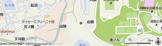 愛知県岡崎市洞町(山狭)周辺の地図