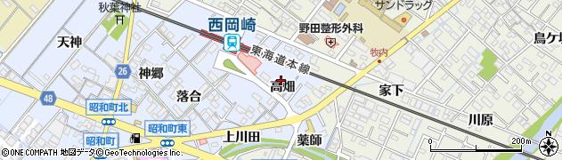 愛知県岡崎市昭和町(高畑)周辺の地図