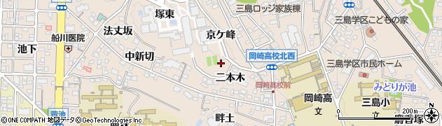 愛知県岡崎市明大寺町(奥山)周辺の地図