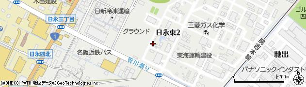 三重県四日市市日永東周辺の地図