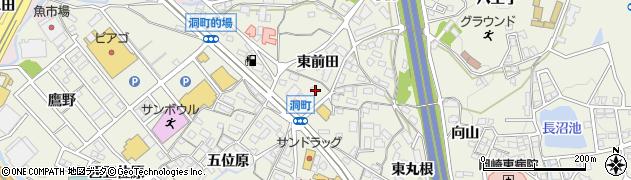 愛知県岡崎市洞町(東前田)周辺の地図