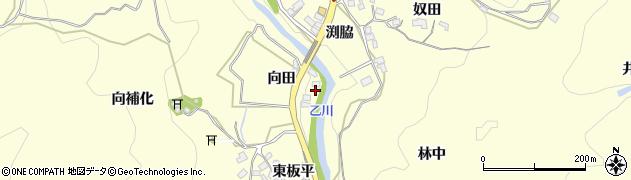 愛知県岡崎市秦梨町(向田)周辺の地図