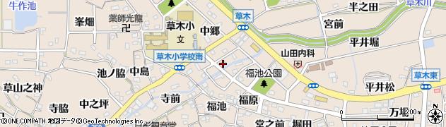 愛知県知多郡阿久比町草木周辺の地図