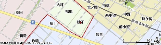 愛知県安城市山崎町(綾子)周辺の地図