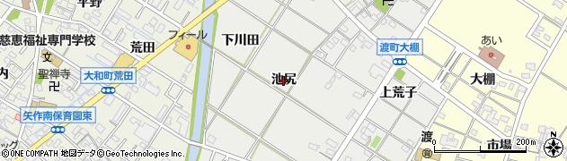 愛知県岡崎市筒針町(池尻)周辺の地図