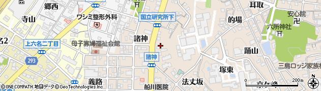 愛知県岡崎市明大寺町(狐塚)周辺の地図