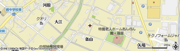 愛知県安城市福釜町(条山)周辺の地図