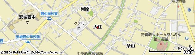 愛知県安城市福釜町(大江)周辺の地図