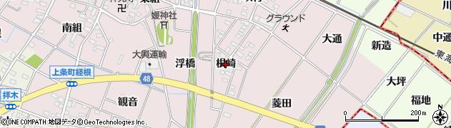 愛知県安城市上条町(根崎)周辺の地図