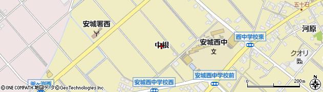 愛知県安城市福釜町(中根)周辺の地図