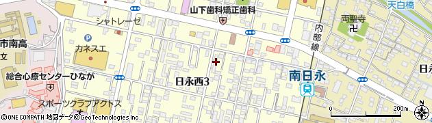 三重県四日市市日永西周辺の地図