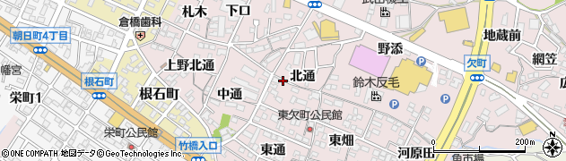 愛知県岡崎市欠町(北通)周辺の地図