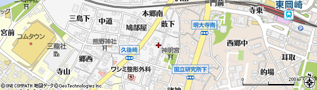 愛知県岡崎市久後崎町(両神)周辺の地図