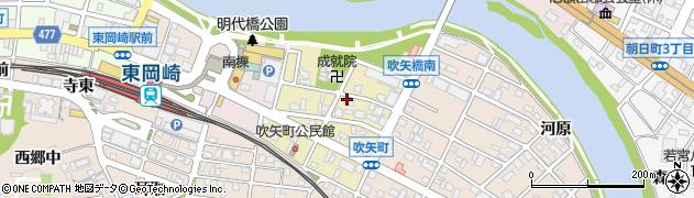 愛知県岡崎市吹矢町周辺の地図