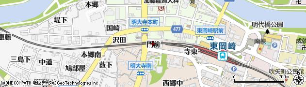 愛知県岡崎市明大寺町(門前)周辺の地図