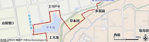 愛知県知多市岡田(草木田)周辺の地図