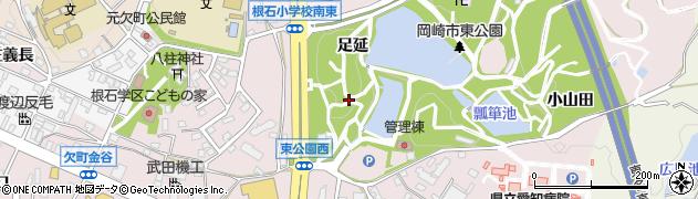 愛知県岡崎市欠町(足延)周辺の地図