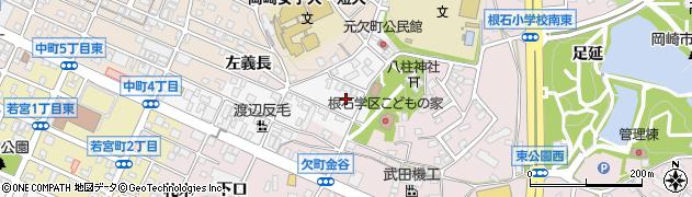 愛知県岡崎市元欠町周辺の地図
