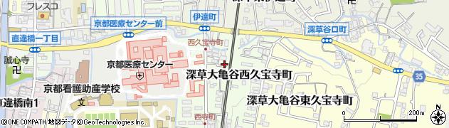 京都府京都市伏見区深草大亀谷西久宝寺町周辺の地図
