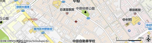 静岡県静岡市駿河区中原周辺の地図