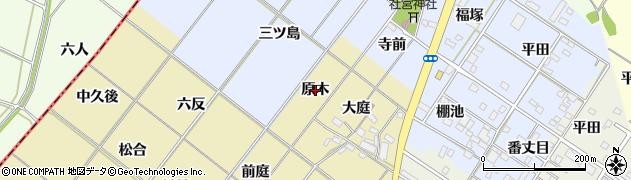 愛知県岡崎市新堀町(原木)周辺の地図