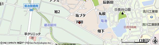 愛知県知多市日長(川田)周辺の地図