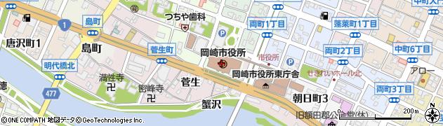 愛知県岡崎市周辺の地図