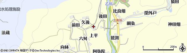 愛知県岡崎市秦梨町(上平)周辺の地図