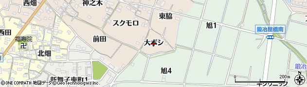 愛知県知多市日長(大ボシ)周辺の地図