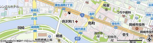 愛知県岡崎市唐沢町周辺の地図