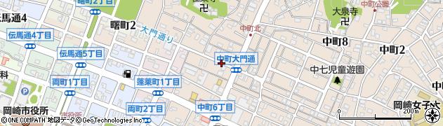 愛知県岡崎市中町(大門通)周辺の地図