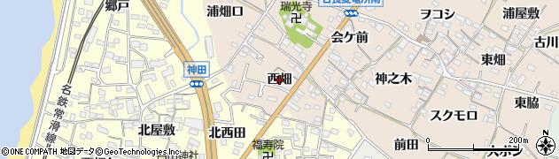 愛知県知多市日長(西畑)周辺の地図