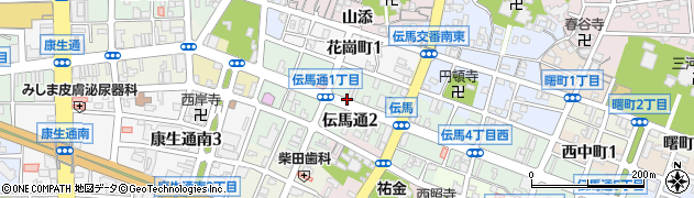 愛知県岡崎市伝馬通周辺の地図