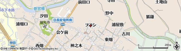 愛知県知多市日長(ヲコシ)周辺の地図