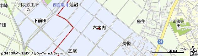 愛知県岡崎市富永町(六之内)周辺の地図
