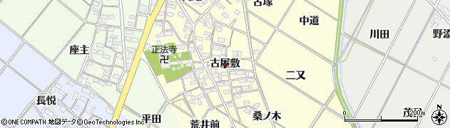 愛知県岡崎市東本郷町(古屋敷)周辺の地図