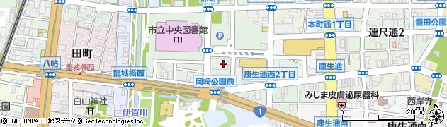 愛知県岡崎市康生通西周辺の地図