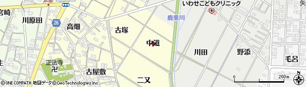 愛知県岡崎市東本郷町(中道)周辺の地図