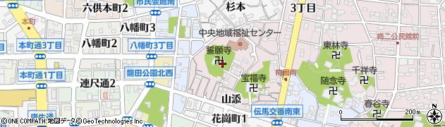 誓願寺周辺の地図