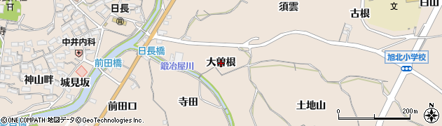 愛知県知多市日長(大曽根)周辺の地図